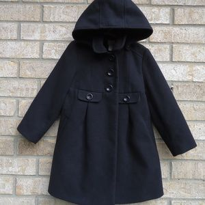 SIZE 5-6 YRS.Monsoon Black Hooded Pea coat.